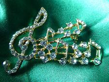 Rhinestone Music Note Brooch,Musician,Gigs,Gold,Stylish,Men,Women,Fashion,Gems,