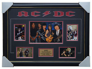 AC/DC Signed Photo Collage Framed Angus Young Brian Johnson 100% Authentic + COA