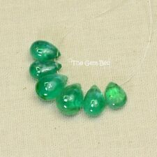 7.95CT Natural Finest Emerald Smooth Pear Briolette Beads (6)