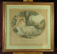 Hand colored stiple engraving, 1830's, Cupid Binding Aglaia, Angelica Kauffman