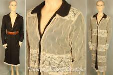 Anthropologie MOTH Wool Mohair Knit Lace Open Front Long Jacket Coat Reversible