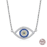 925 Sterling Silver Zirconia Evil Eye Turkish Greek Mati Nazar Necklace Pendant