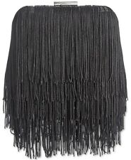 INC Colie Fringe Black Clutch Party Handbag