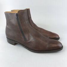 Loake Bros UK12 Brown Leather Mens Classic Ankle Double Zip Up Smart Dress Boots