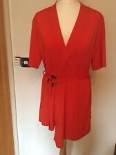 River island red short sleeved kimono style belted  top size 12