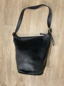 Rare Vintage Coach Black Leather Duffle 15  Feed Sac Bucket Bag Xl Fabulous