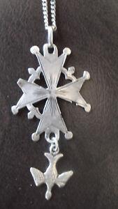 Croix huguenote ancienne XIXe argent+ bracelet gourmette argent + chaine offerte