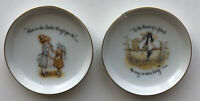 Vintage Holly Hobbie Miniature Porcelain Trinket Dishes Plates 3 3/4 in Set of 2