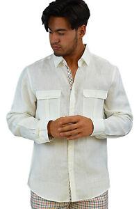 Mens Bohio 100% Tropical Linen Ivory Casual Long Sleeve Shirt (S ~ 2XL) - MLS76