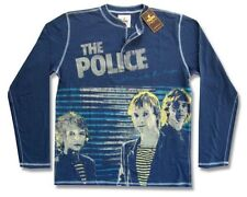 Police Trunk LTD Walking On The Moon Blue Henley Shirt New Official NWT