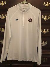 Under Armour Auburn University Men's White Grey Striped Pullover Long Slv Size L