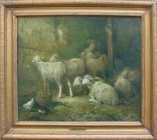 FELIX  BRISSOT de WARVILLE 1818-1892 FRANCE BARBAZON SHEEP MOUTONS to $9500 OIL