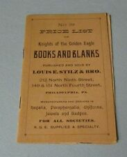 1890 Knights of the Golden Eagle Books and Blanks Price List Louis Stilz Phil PA
