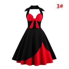 Womens 1950s 60s Vintage Halter Style Rockabilly Evening Prom Swing Dress Plus