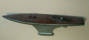 Large Vintage Antique wood and metal pond yacht sailing boat hollow hull w/ keel