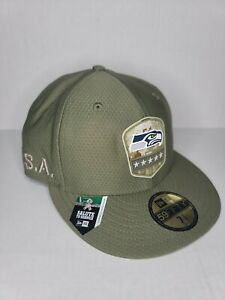 New Era Seattle Seahawks NFL Salute to Service Hat Cap 59Fifty Fitted Sz 7-3/8
