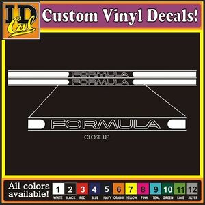 "3"" PAIR FORMULA Pontiac Fiero Firebird Running board Racing Stripe Decal Sticker"