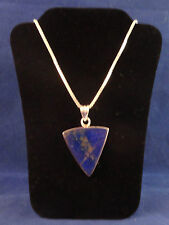 """Sterling Silver Blue Stone Pendant 925 18"""" Italy 2mm Box Chain 20.2G Not Scrap"""
