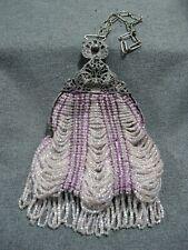 Antique Flapper purple & clear crocheted wavy microbeaded filigree frame purse