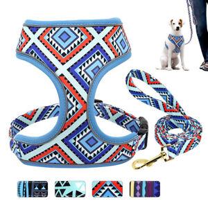 Soft Printed Nylon Dog Harness With Leash Set Adjustable Pet Walking Collar Vest