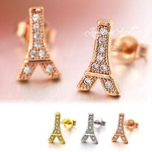 18K GOLD GF EAR CARTILAGE Stud LADIES MENS EIFFEL TOWER mini diamonds EARRINGS