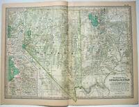 Original 1897 Map of Nevada & Utah by The Century Company. Original Antique Map