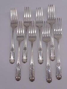 "Vintage Sterling Silver Dinner Fork Set x8 State House Inaugural 356 grams 7""L"