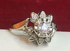 ANTIQUE ESTATE 14K WHITE GOLD  NATURAL DIAMOND RING FLOWER WEDDING  ENGAGEMENT
