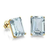 AQUAMARINE EARRINGS 1.1 CWT 10k YELLOW GOLD EARTH MINED