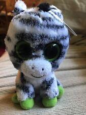 "Ty Beanie Boo's Zig-Zag the Zebra Birthday June 14 6"" RETIRED 08421 36036"