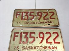 TWO VTG 1975  SASKATCHEWAN LICENSE PLATE ANTIQUE EXPIRED AUTO TAGS USE CRAFTS