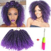 "3Pcs 8"" Mali Bob Curly Twist Crochet Braid Synthetic Hair Extension Black/Purple"
