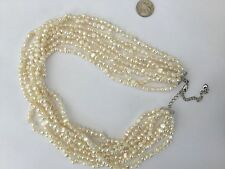 """Beautiful 18"""" L Sterling And Cream Freshwater Pearls 8 Strand Choker Necklace"""