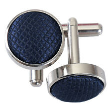 DQT Blue Cufflinks Solid Plain Patterned Floral Paisley Polka Dot Stripe Check