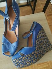 Sergio Rossi Platform Espadrille Wedges Blue Shoe Suede Leather 38 8