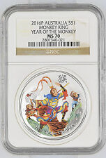 2016 Perth Mint Year of the Monkey King NGC MS 70 1 oz .999 Silver Lunar Coin