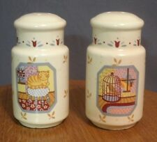 Cat & Bird Salt Pepper Shakers Kitty Cage Country Windows Japan