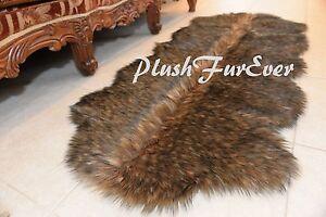 "24""x59"" BLACK TIP Coyote Brown Exotic Faux Fur Plush Sofa Floor Runner Rugs A4"