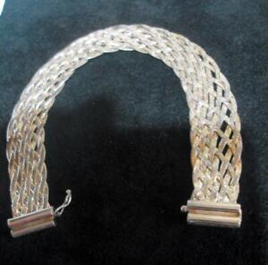Vintage Handmade Italian Silver 925 Woven Bracelet 12654