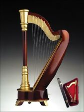 """9.5""""NEW BROWN+GOLD WOOD HARP INSTRUMENT MUSIC BOX+CASE+""""MUSIC OF THE NIGHT""""-H25C"""