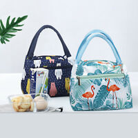 JW_ AB_ Flamingo Cactus Print Thermal Insulated Picnic Lunch Bag Food Box Tote