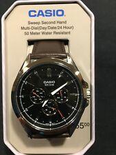 Casio Men's Quartz Blue Chronograph Dial Brown Leather 48mm Watch MTPSW300L1TN