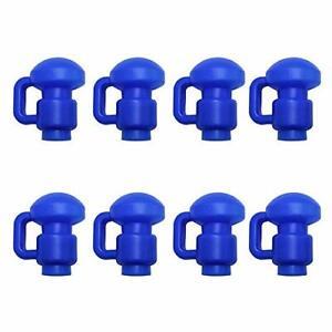 Upper Bounce 8er Set Stangen-Kappen mit C-Haken für Trampolin Netzen Blau 3.8 cm
