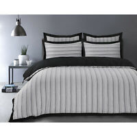 NEW Stripe Woven 100% Cotton Stripy Quilt Duvet Cover Woven Striped Bedding Set