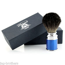 Men's 100% Black Badger Hair Shaving Brush in blue Handle Made in England