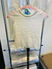 Girls Fancy Top, Monteau Girl, Size 10, Lace, Beaded, Off White, preowned