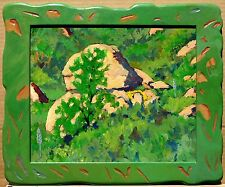 CALIFORNIA HILLSIDE WITH YELLOW WILDFLOWERS/YUCCA IN ARTIST-CARVED WOOD FRAME