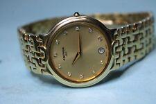 CARVEN 18k Gold Plated Jewelled Dial Swiss Quartz Dress Watch Men or Women 35mm