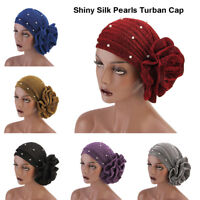 Women Hair Loss Head Scarf Shiny Pearl Turban Cap Flower Muslim Cancer Chemo Hat