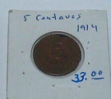 Mexico 5 Centavos 1914 Copper Durango Revolutionary Coin ~ 1 YEAR TYPE